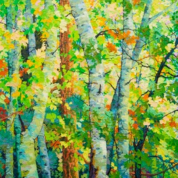 Aspens and Oak Leaves in the Wind