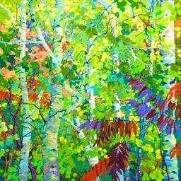 "Aspens Oaks and Sumacs - 46"" x 46"""