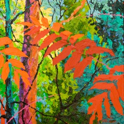 "Glimpse Dark Red Sumac III - 13"" x 13"""