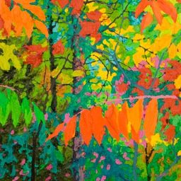 "Glimpse Dark Red Sumac IV - 13"" x 13"""