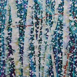 "Snow on Birches II  - 36"" x 36"""