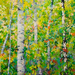 Spring Birches IX - 4ft x 4 ft